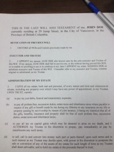 Vancouver Law Firm photo of the last Will and Testament litigation form